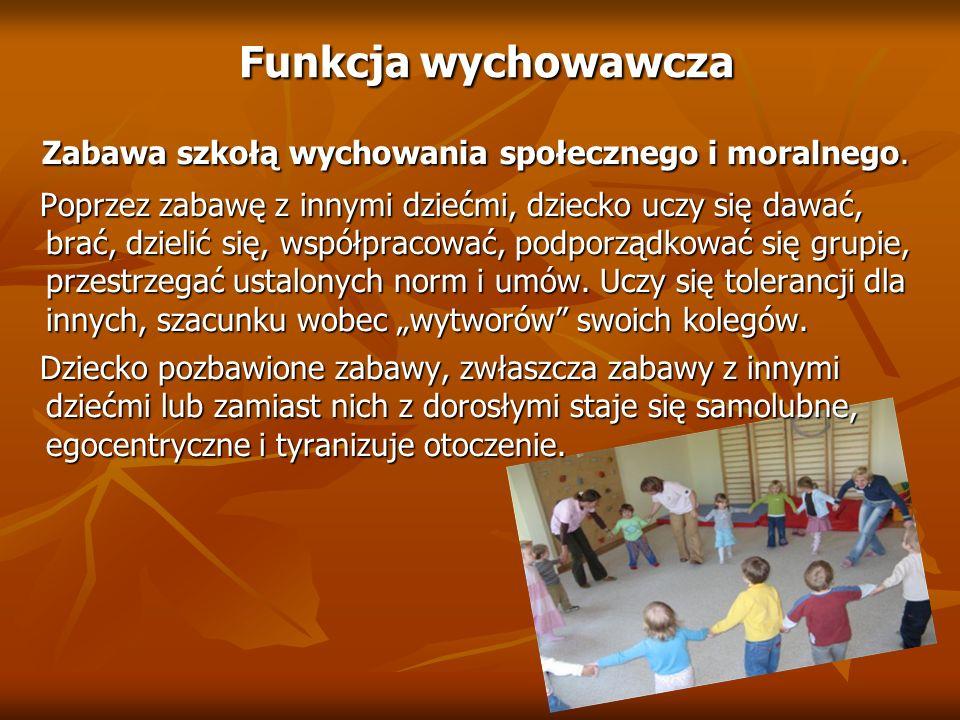 Funkcja wychowawcza Funkcja wychowawcza Zabawa szkołą wychowania społecznego i moralnego. Zabawa szkołą wychowania społecznego i moralnego. Poprzez za