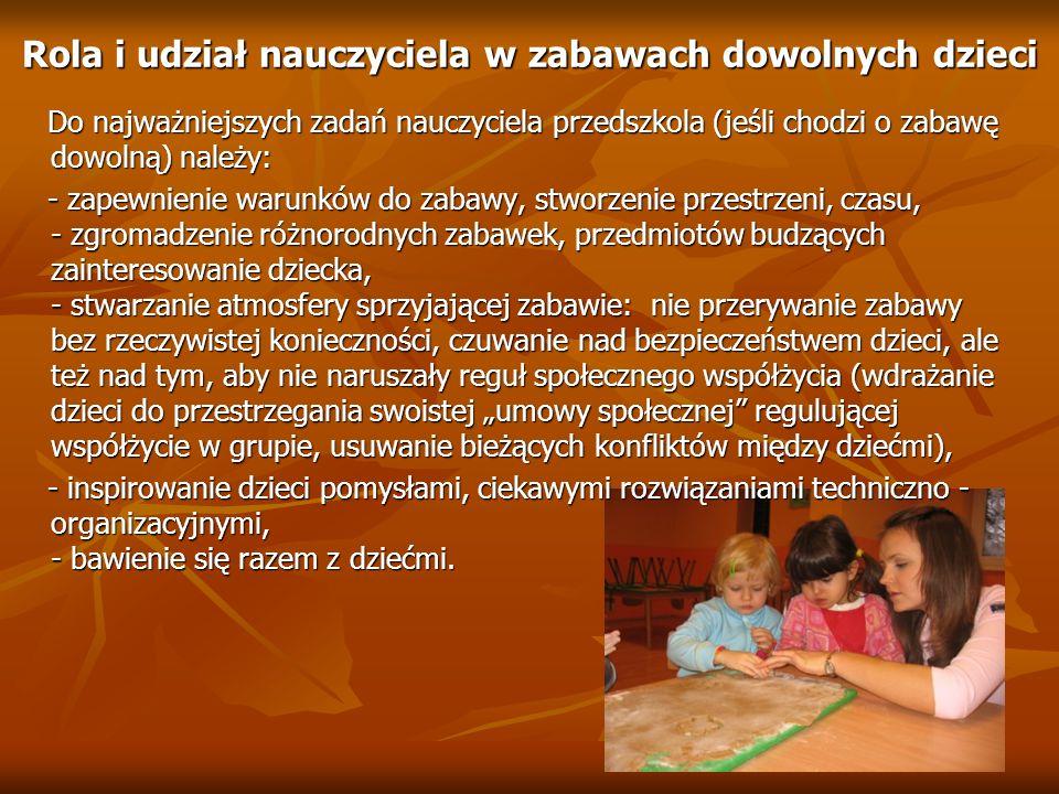 Rola i udział nauczyciela w zabawach dowolnych dzieci Do najważniejszych zadań nauczyciela przedszkola (jeśli chodzi o zabawę dowolną) należy: Do najw