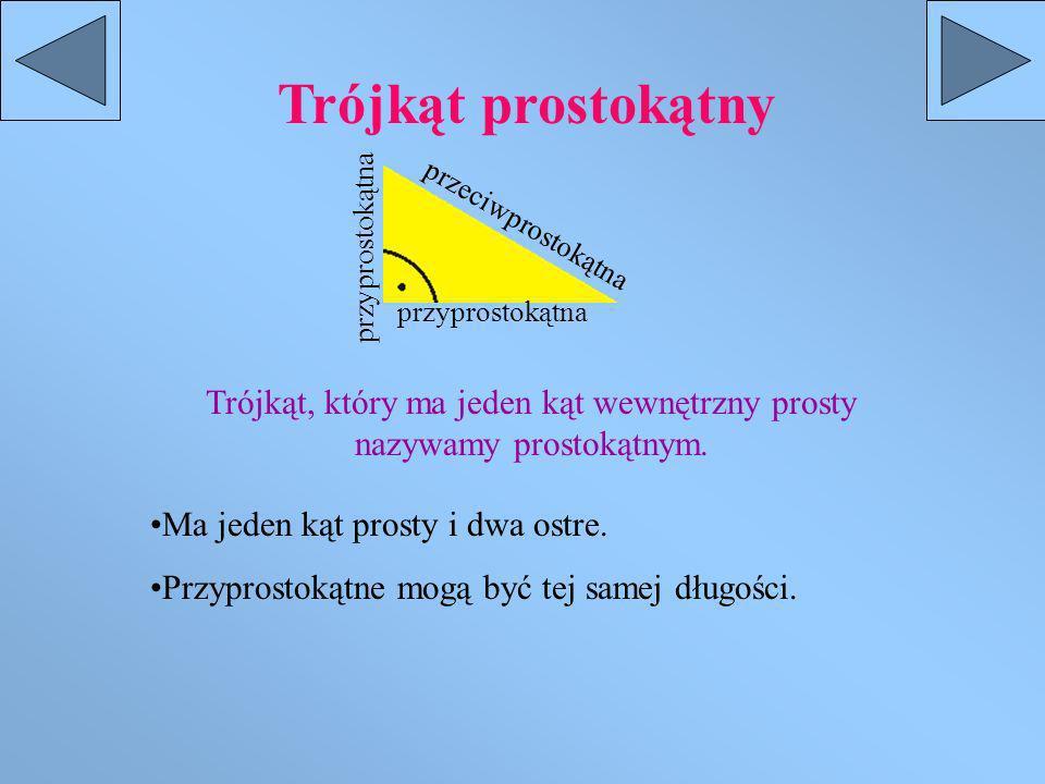Trójkąt prostokątny Trójkąt, który ma jeden kąt wewnętrzny prosty nazywamy prostokątnym.