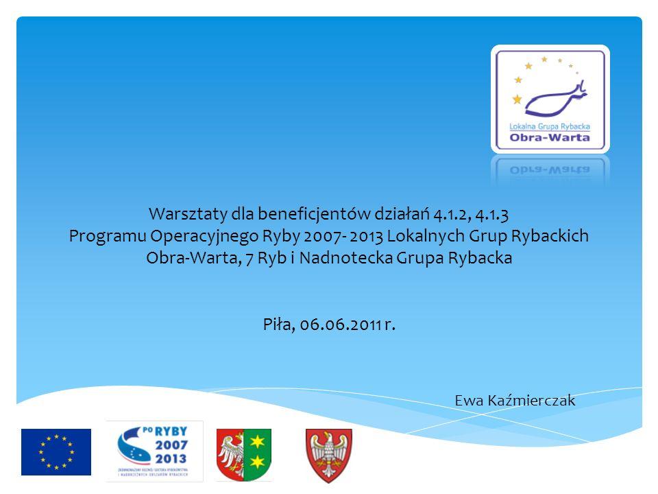 Warsztaty dla beneficjentów działań 4.1.2, 4.1.3 Programu Operacyjnego Ryby 2007- 2013 Lokalnych Grup Rybackich Obra-Warta, 7 Ryb i Nadnotecka Grupa R