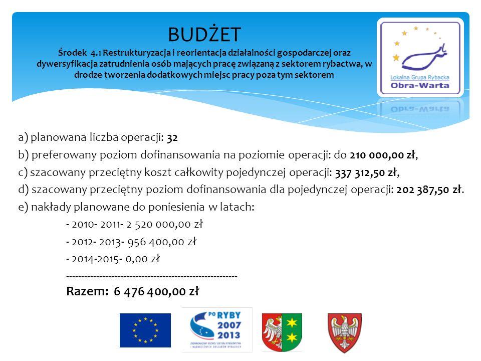 a) planowana liczba operacji: 32 b) preferowany poziom dofinansowania na poziomie operacji: do 210 000,00 zł, c) szacowany przeciętny koszt całkowity