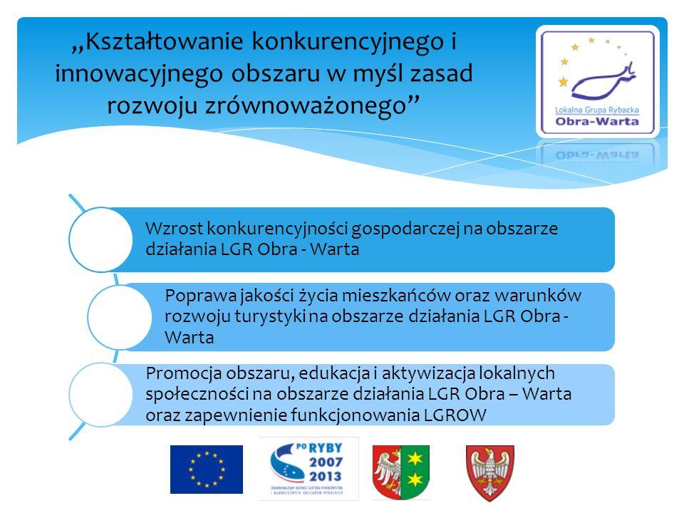 Wzrost konkurencyjności gospodarczej na obszarze działania LGR Obra - Warta Wsparcie przedsięwzięć związanych z gospodarką rybacką lub umożliwiających odejście od sektora rybackiego Wsparcie przedsięwzięć podnoszących atrakcyjność inwestycyjną Poprawa jakości życia mieszkańców oraz warunków rozwoju turystyki na obszarze działania LGR Obra - Warta Wsparcie przedsięwzięć związanych z poprawą stanu i ochroną środowiska przyrodniczego Wsparcie rozwoju usług na rzecz mieszkańców i turystów (w tym innowacyjnych) Wsparcie przedsięwzięć na rzecz utrzymania i poprawy atrakcyjności turystycznej Promocja obszaru, edukacja i aktywizacja lokalnych społeczności na obszarze działania LGR Obra – Warta oraz zapewnienie funkcjonowania LGR Obra - Warta Działania promocyjne związane z rozwojem społeczno gospodarczym Organizacja kursów i szkoleń aktywizujących lokalną społeczność ( w tym związanych z rybactwem) Funkcjonowanie LGR Obra – Warta Współpraca międzyregionalna i międzynarodowa LGR Cele szczegółowe