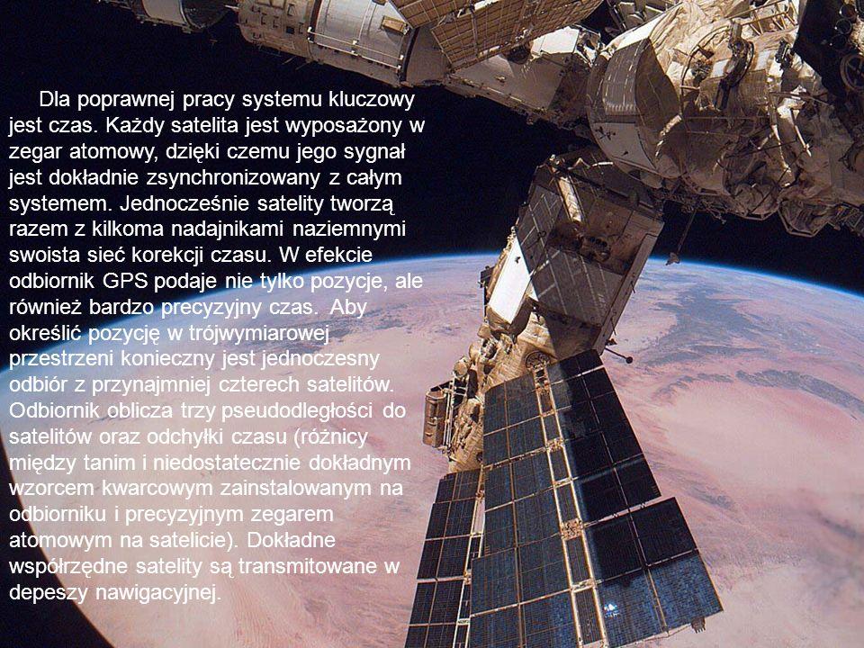 Dla poprawnej pracy systemu kluczowy jest czas. Każdy satelita jest wyposażony w zegar atomowy, dzięki czemu jego sygnał jest dokładnie zsynchronizowa