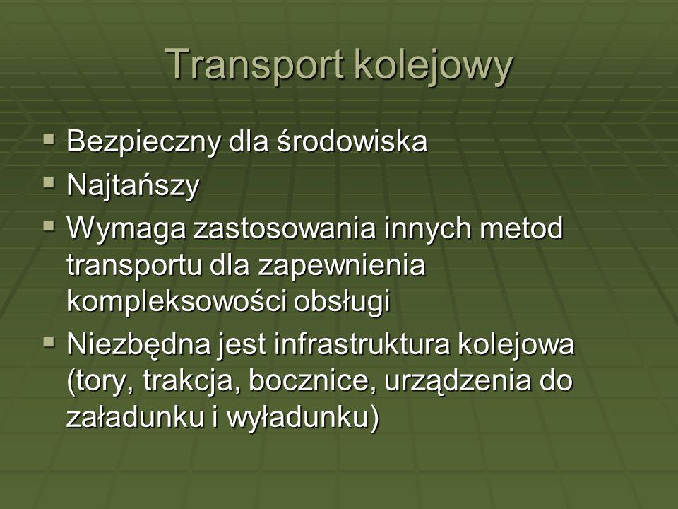 Transport kolejowy Bezpieczny dla środowiska Bezpieczny dla środowiska Najtańszy Najtańszy Wymaga zastosowania innych metod transportu dla zapewnienia