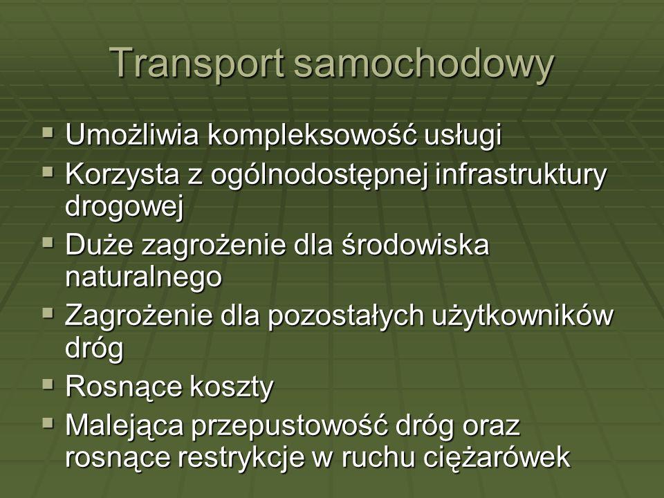 Transport samochodowy Umożliwia kompleksowość usługi Umożliwia kompleksowość usługi Korzysta z ogólnodostępnej infrastruktury drogowej Korzysta z ogól
