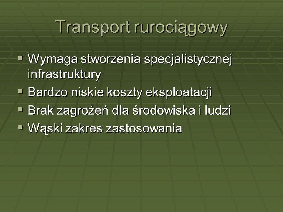 Transport rurociągowy Wymaga stworzenia specjalistycznej infrastruktury Wymaga stworzenia specjalistycznej infrastruktury Bardzo niskie koszty eksploa