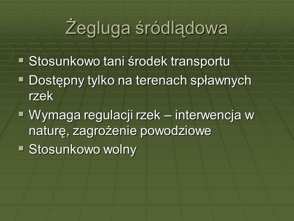 Żegluga śródlądowa Stosunkowo tani środek transportu Stosunkowo tani środek transportu Dostępny tylko na terenach spławnych rzek Dostępny tylko na ter