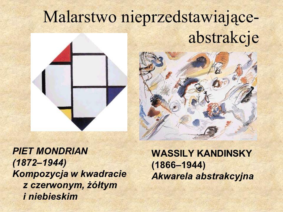 Malarstwo nieprzedstawiające- abstrakcje WASSILY KANDINSKY (1866–1944) Akwarela abstrakcyjna PIET MONDRIAN (1872–1944) Kompozycja w kwadracie z czerwo