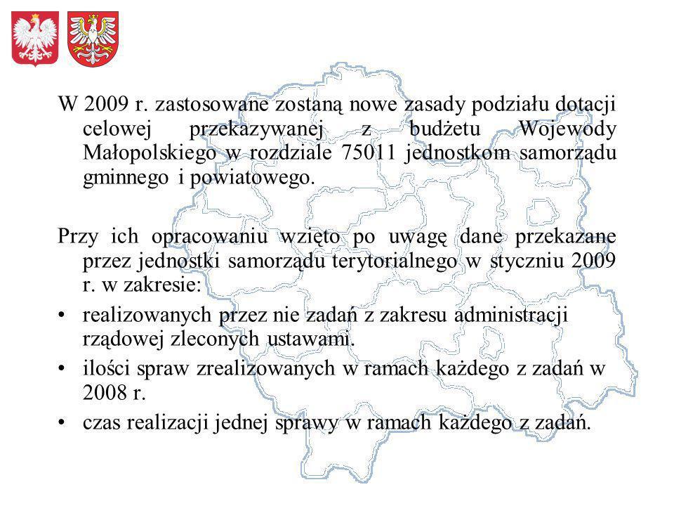 W 2009 r. zastosowane zostaną nowe zasady podziału dotacji celowej przekazywanej z budżetu Wojewody Małopolskiego w rozdziale 75011 jednostkom samorzą