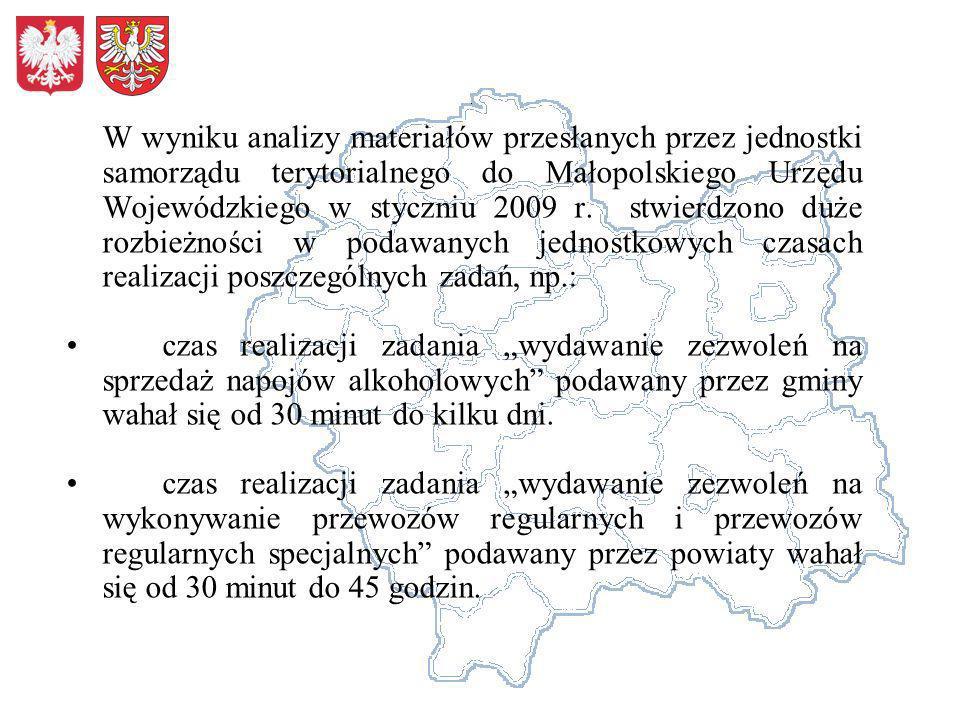 W wyniku analizy materiałów przesłanych przez jednostki samorządu terytorialnego do Małopolskiego Urzędu Wojewódzkiego w styczniu 2009 r. stwierdzono