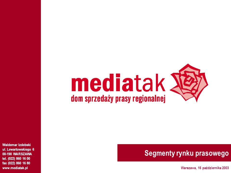 Segmenty rynku prasowego Waldemar Izdebski ul.Lewartowskiego 6 00-190 WARSZAWA tel.