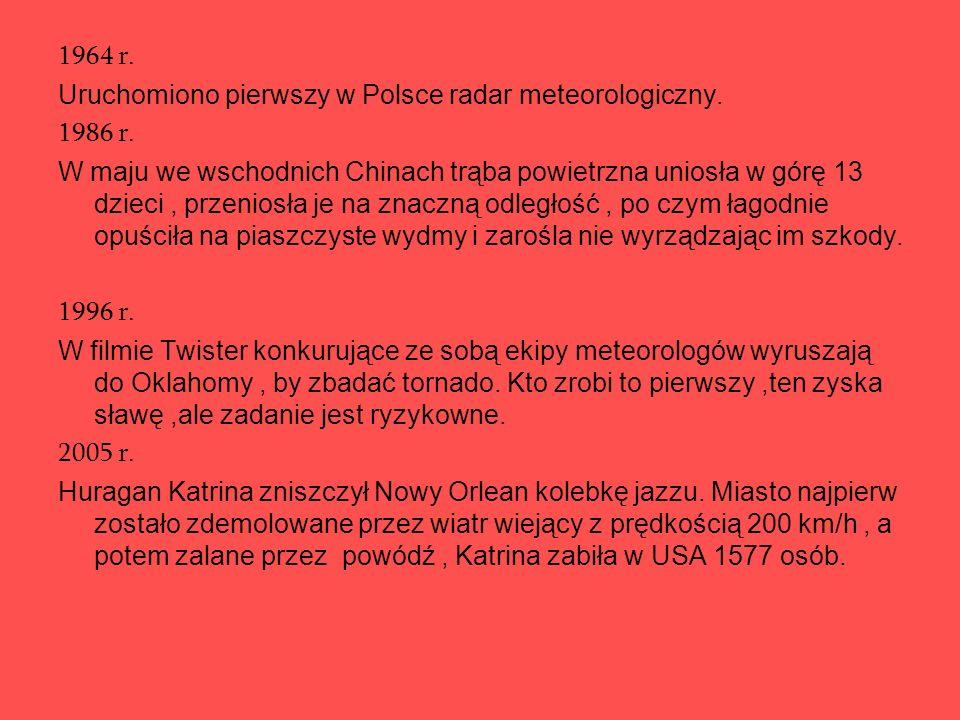 1964 r. Uruchomiono pierwszy w Polsce radar meteorologiczny. 1986 r. W maju we wschodnich Chinach trąba powietrzna uniosła w górę 13 dzieci, przeniosł