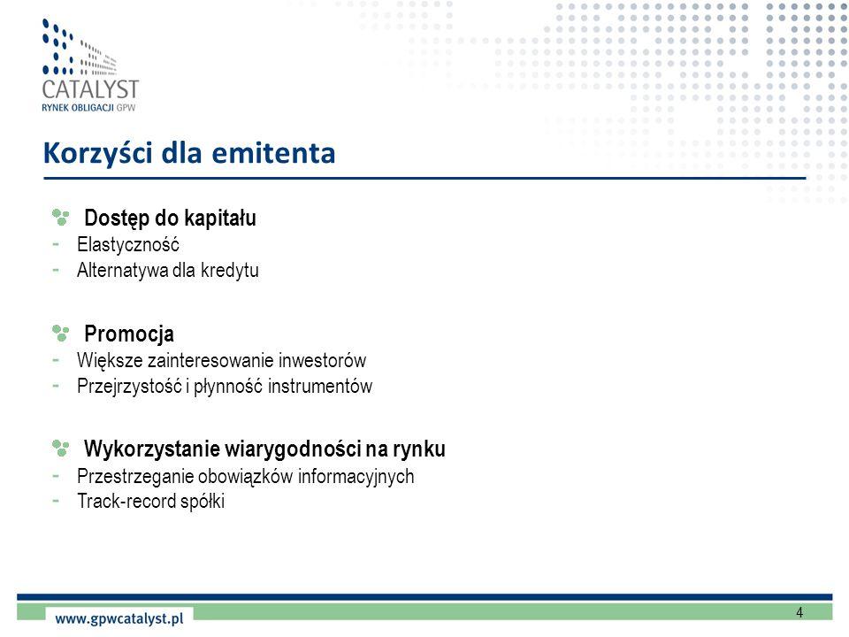 4 Korzyści dla emitenta Dostęp do kapitału - Elastyczność - Alternatywa dla kredytu Promocja - Większe zainteresowanie inwestorów - Przejrzystość i pł