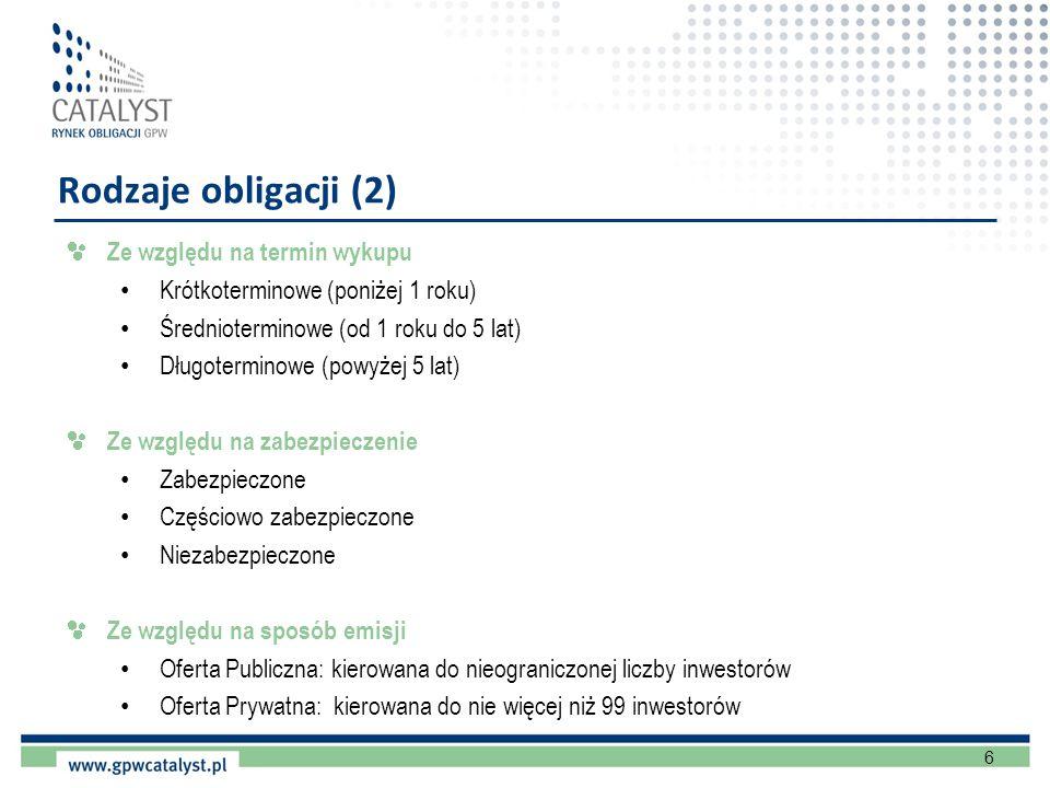 6 Rodzaje obligacji (2) Ze względu na termin wykupu Krótkoterminowe (poniżej 1 roku) Średnioterminowe (od 1 roku do 5 lat) Długoterminowe (powyżej 5 l