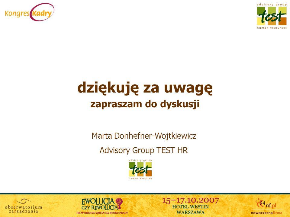 34 dziękuję za uwagę zapraszam do dyskusji Marta Donhefner-Wojtkiewicz Advisory Group TEST HR