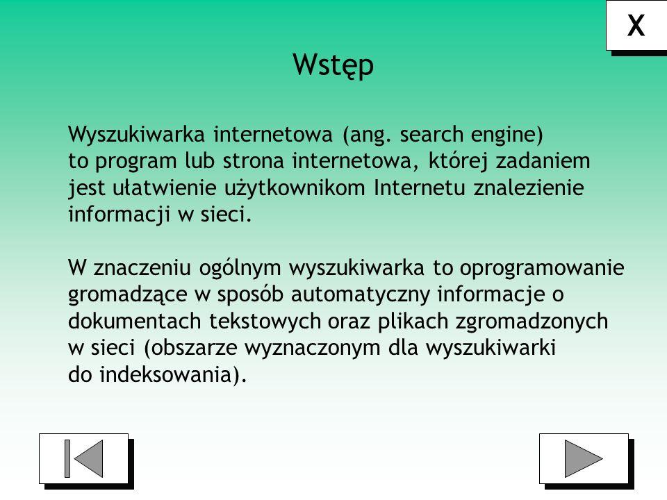 X X Określenie Wyszukiwarka stosujemy do: stron internetowych serwisów wyszukujących - czyli implementacji oprogramowania wyszukującego działającego z interfejsem WWW ogólnodostępnym dla internautów oprogramowania przeznaczonego do indeksowania i wyszukiwania informacji w sieciach komputerowych: internecie, intranecie.