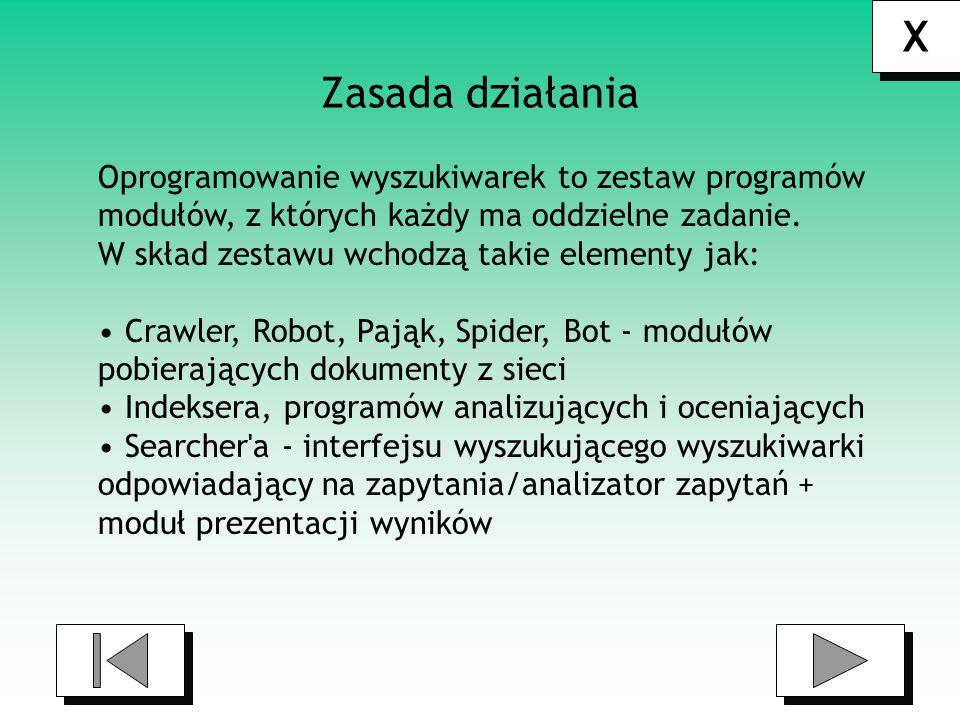X X Mechanizm działania wyszukiwarki składa się z trzech faz: 1)Specjalny moduł odwiedza stronę i dzięki hiperlączom wchodzi w kolejne.