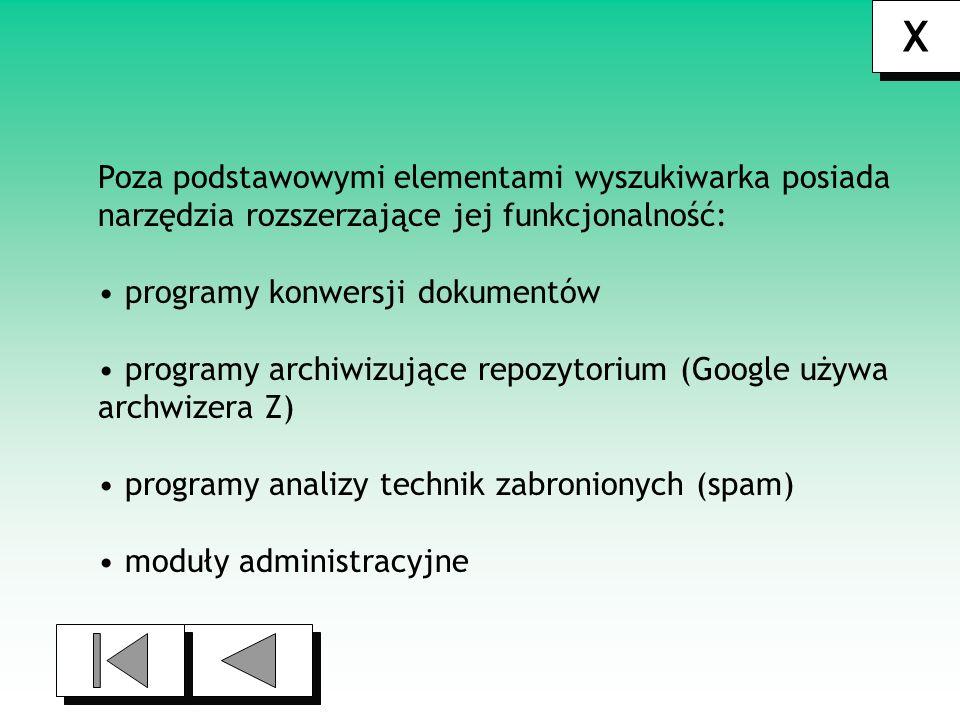 X X Rodzaje wyszukiwarek Ze względu na typ wyszukiwania wyszukiwarki internetowe można podzielić na trzy grupy : wyszukiwarki oparte na analizie treści strony wyszukiwarki oparte na zasadzie aukcji miejsc wyszukiwarki oparte na analizie topologii sieci