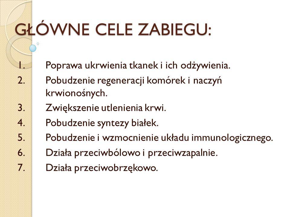 GŁÓWNE CELE ZABIEGU: 1.Poprawa ukrwienia tkanek i ich odżywienia. 2.Pobudzenie regeneracji komórek i naczyń krwionośnych. 3.Zwiększenie utlenienia krw
