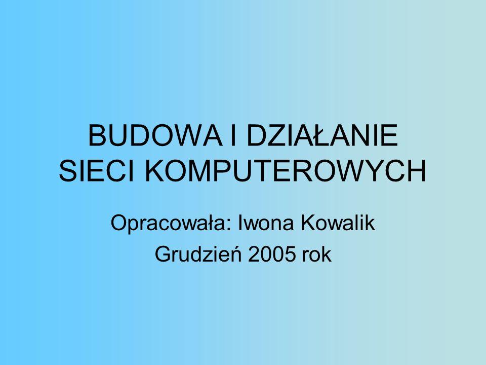 BUDOWA I DZIAŁANIE SIECI KOMPUTEROWYCH Opracowała: Iwona Kowalik Grudzień 2005 rok