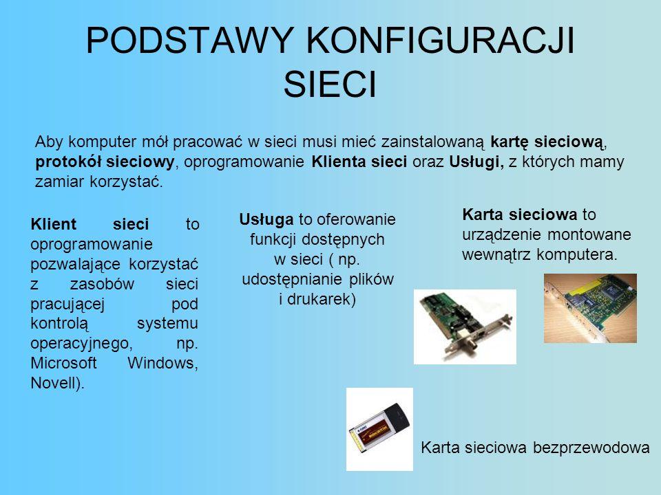 PODSTAWY KONFIGURACJI SIECI Aby komputer mół pracować w sieci musi mieć zainstalowaną kartę sieciową, protokół sieciowy, oprogramowanie Klienta sieci