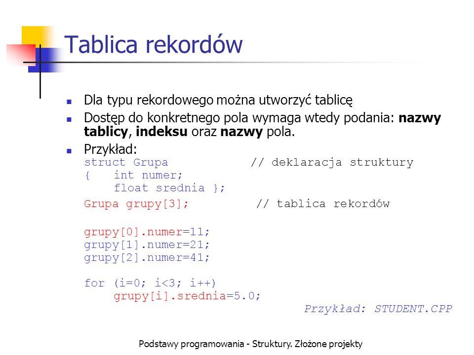 Podstawy programowania - Struktury. Złożone projekty Tablica rekordów Dla typu rekordowego można utworzyć tablicę Dostęp do konkretnego pola wymaga wt