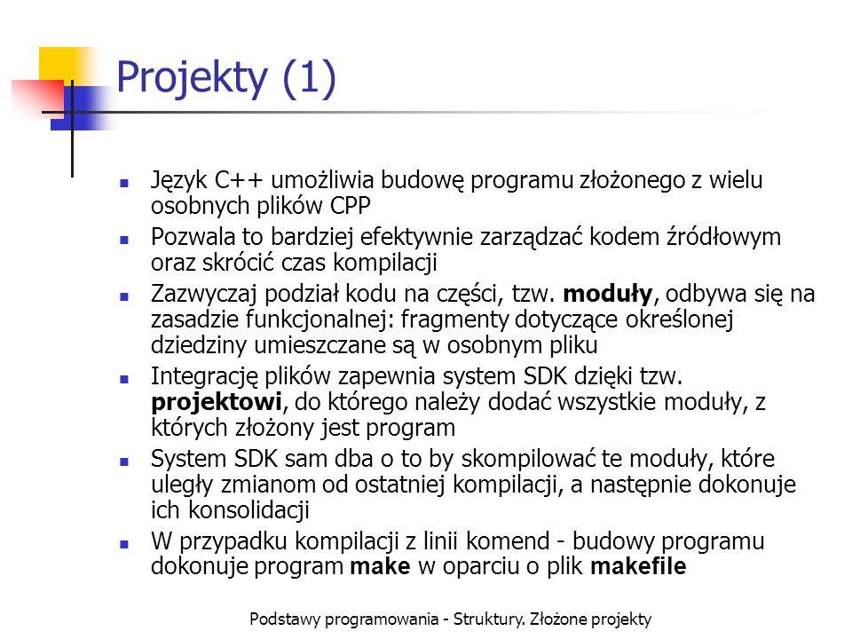 Podstawy programowania - Struktury. Złożone projekty Projekty (1) Język C++ umożliwia budowę programu złożonego z wielu osobnych plików CPP Pozwala to