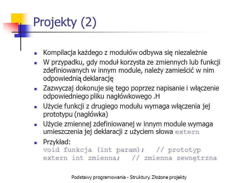 Podstawy programowania - Struktury. Złożone projekty Projekty (2) Kompilacja każdego z modułów odbywa się niezależnie W przypadku, gdy moduł korzysta