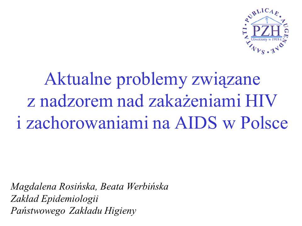 Aktualne problemy związane z nadzorem nad zakażeniami HIV i zachorowaniami na AIDS w Polsce Magdalena Rosińska, Beata Werbińska Zakład Epidemiologii P