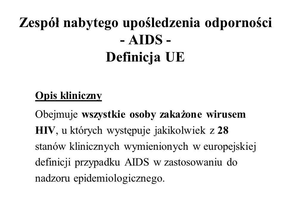 Zespół nabytego upośledzenia odporności - AIDS - Definicja UE Opis kliniczny Obejmuje wszystkie osoby zakażone wirusem HIV, u których występuje jakiko