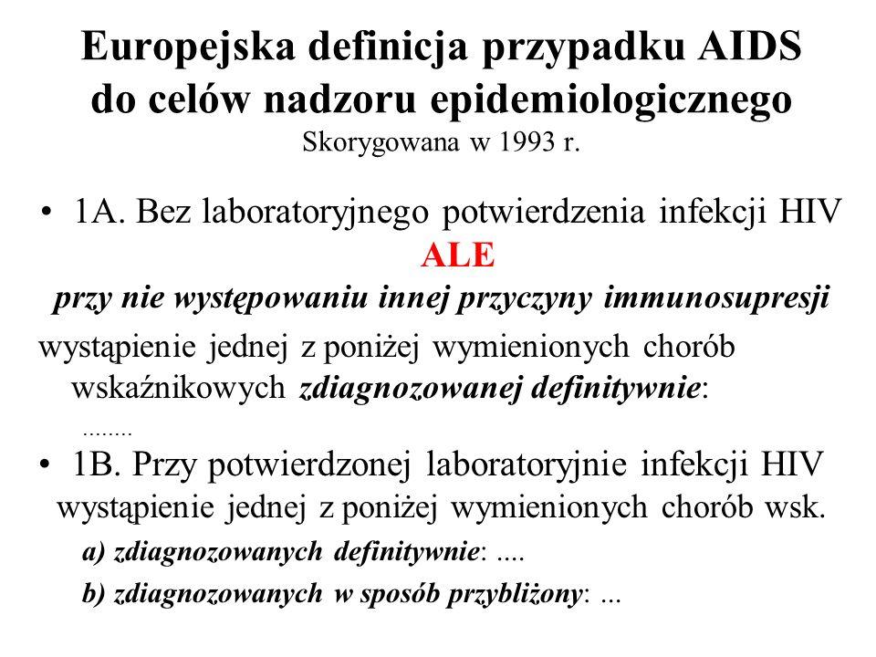 Europejska definicja przypadku AIDS do celów nadzoru epidemiologicznego Skorygowana w 1993 r. 1A. Bez laboratoryjnego potwierdzenia infekcji HIV ALE p