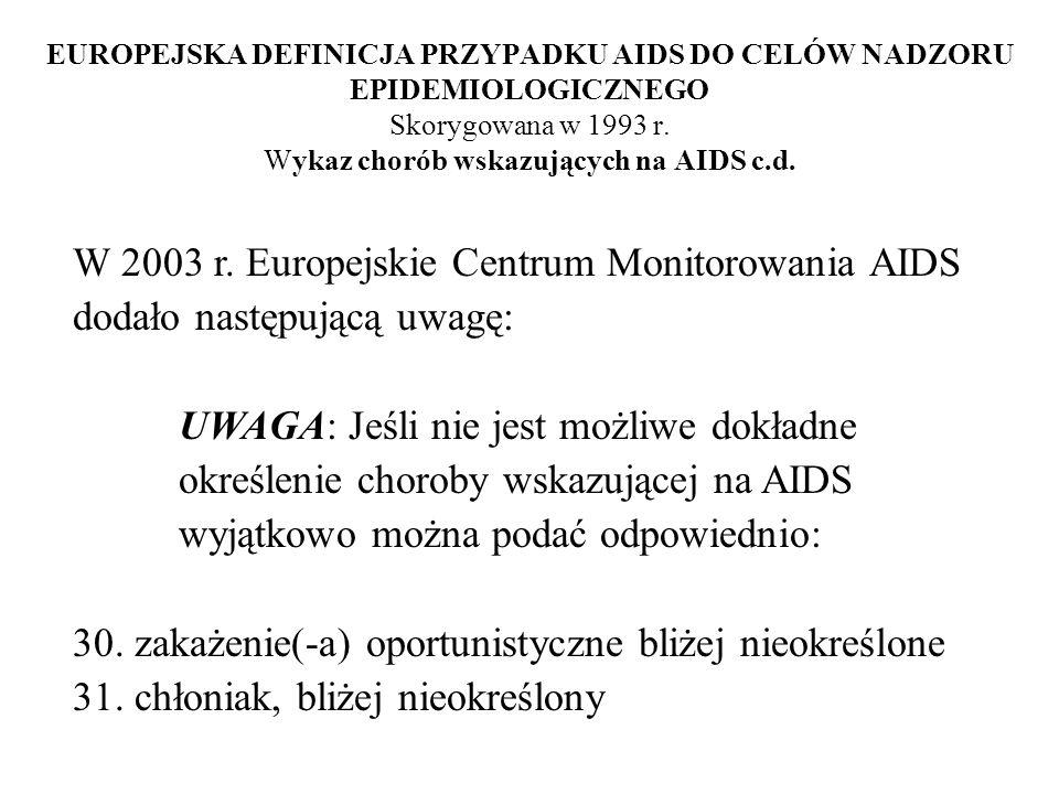 EUROPEJSKA DEFINICJA PRZYPADKU AIDS DO CELÓW NADZORU EPIDEMIOLOGICZNEGO Skorygowana w 1993 r. Wykaz chorób wskazujących na AIDS c.d. W 2003 r. Europej