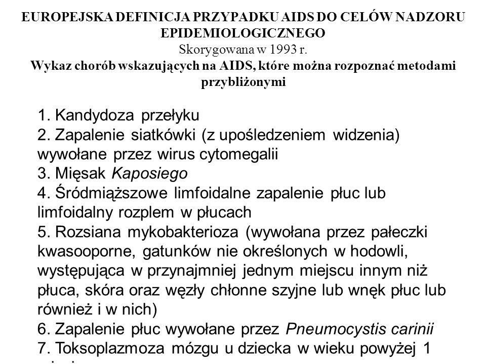 EUROPEJSKA DEFINICJA PRZYPADKU AIDS DO CELÓW NADZORU EPIDEMIOLOGICZNEGO Skorygowana w 1993 r. Wykaz chorób wskazujących na AIDS, które można rozpoznać