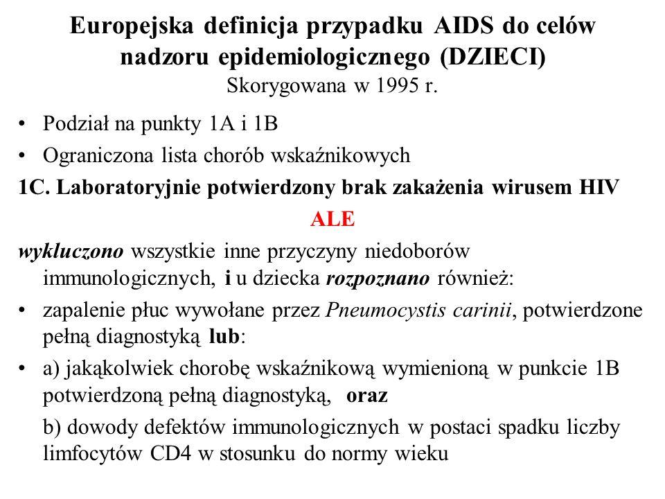 Europejska definicja przypadku AIDS do celów nadzoru epidemiologicznego (DZIECI) Skorygowana w 1995 r. Podział na punkty 1A i 1B Ograniczona lista cho