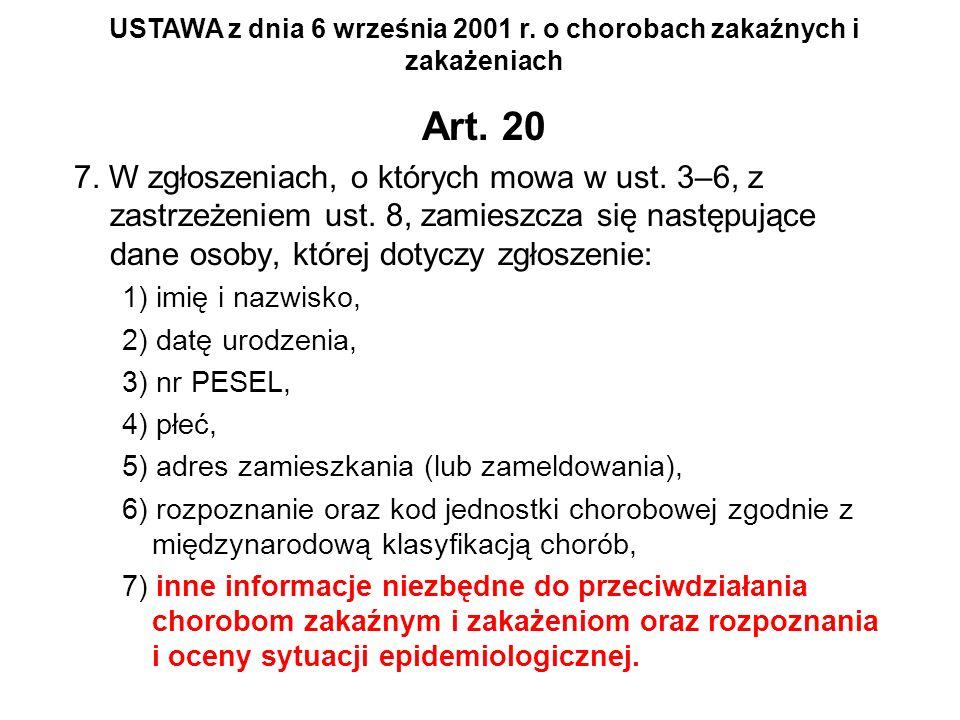 Art. 20 7. W zgłoszeniach, o których mowa w ust. 3–6, z zastrzeżeniem ust. 8, zamieszcza się następujące dane osoby, której dotyczy zgłoszenie: 1) imi