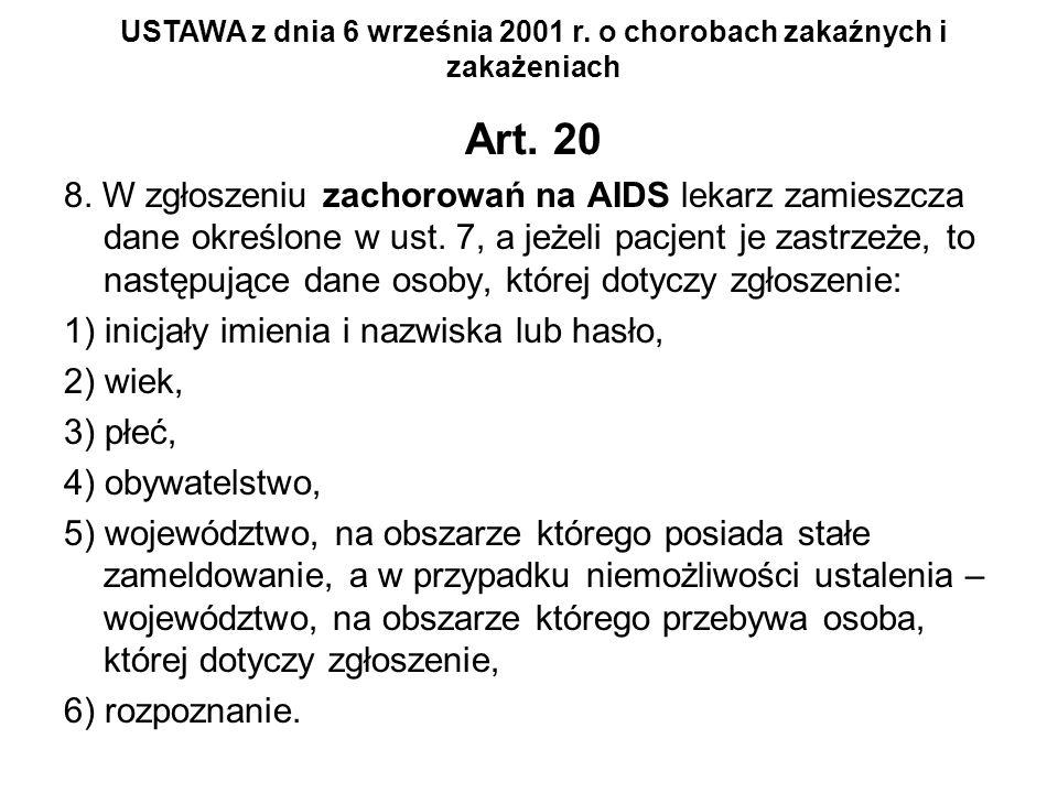 Art. 20 8. W zgłoszeniu zachorowań na AIDS lekarz zamieszcza dane określone w ust. 7, a jeżeli pacjent je zastrzeże, to następujące dane osoby, której