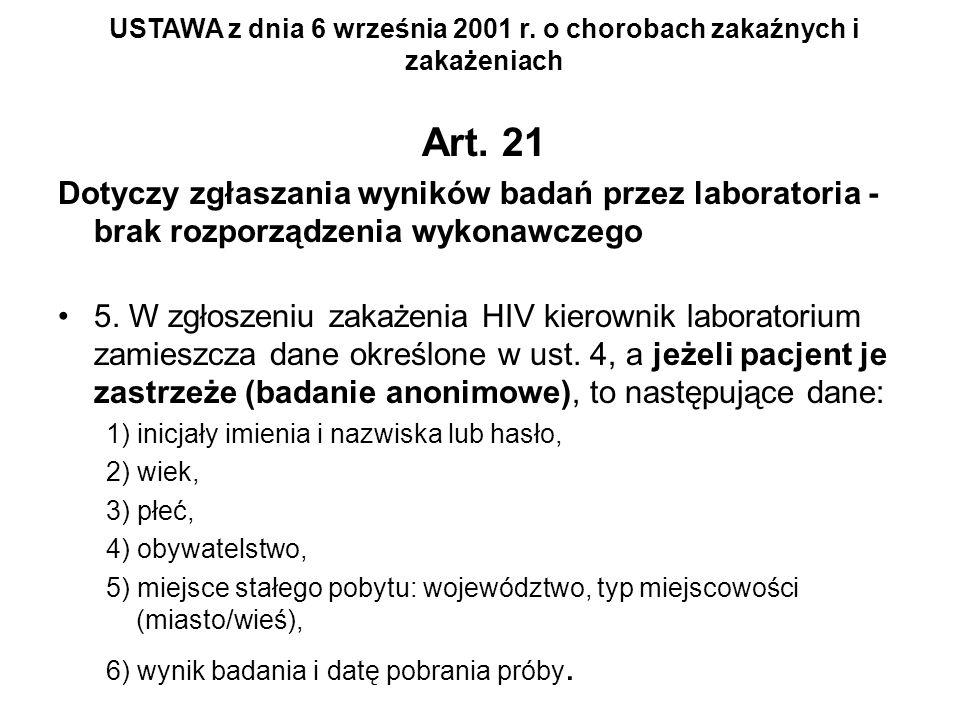 Art. 21 Dotyczy zgłaszania wyników badań przez laboratoria - brak rozporządzenia wykonawczego 5. W zgłoszeniu zakażenia HIV kierownik laboratorium zam