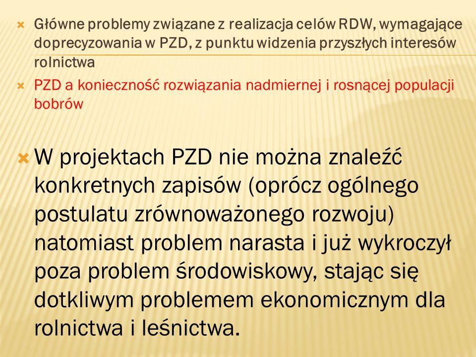 Główne problemy związane z realizacja celów RDW, wymagające doprecyzowania w PZD, z punktu widzenia przyszłych interesów rolnictwa PZD a konieczność rozwiązania nadmiernej i rosnącej populacji bobrów W projektach PZD nie można znaleźć konkretnych zapisów (oprócz ogólnego postulatu zrównoważonego rozwoju) natomiast problem narasta i już wykroczył poza problem środowiskowy, stając się dotkliwym problemem ekonomicznym dla rolnictwa i leśnictwa.