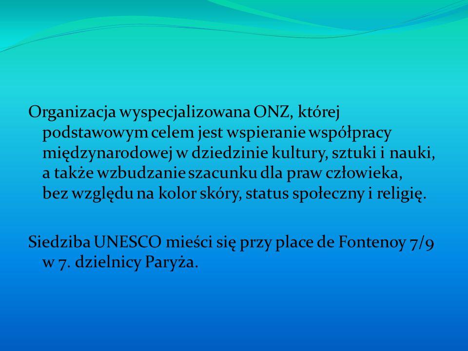 Program działalności UNESCO obejmuje dwa zasadnicze działy: 1.działania na rzecz rozwoju nauki i kultury 2.udzielanie pomocy materialnej, technicznej i kadrowej w organizowaniu oświaty