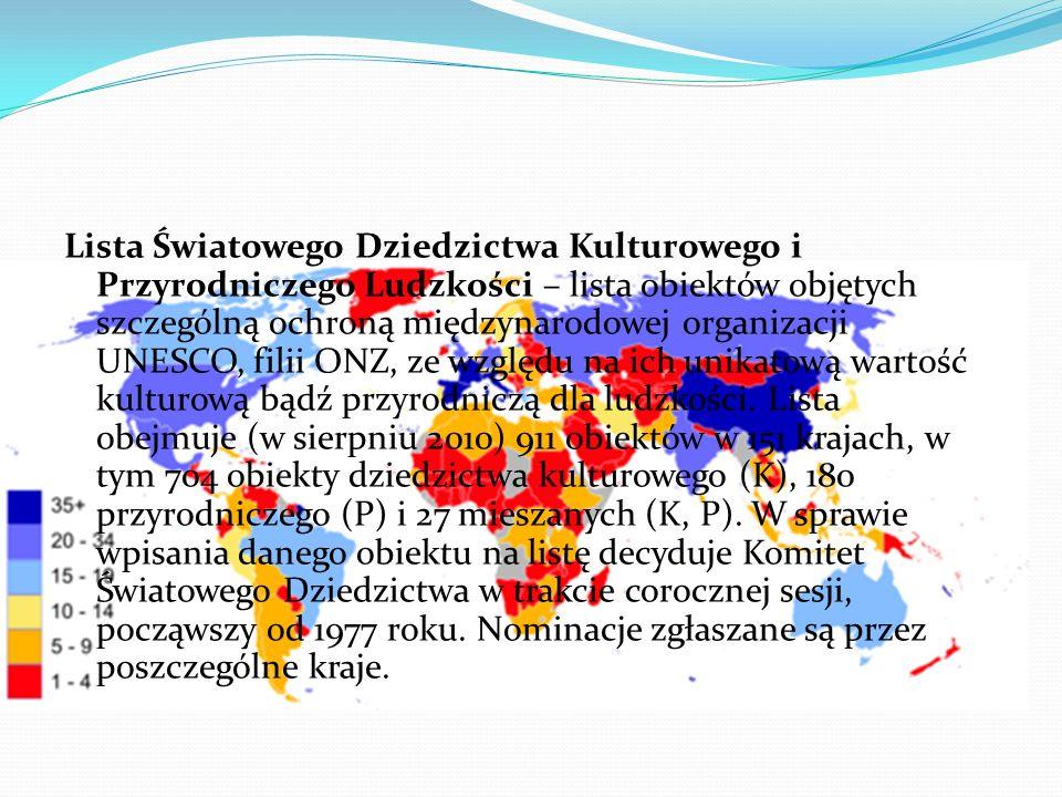 Na Liście Światowego Dziedzictwa UNESCO w Polsce znalazły się (K – kultura, P – przyroda) 1978 – Historyczne centrum Krakowa (Stare Miasto i Kazimierz)(K) 1978– Zabytkowa kopalnia soli w Wieliczce(K) 1979– Auschwitz-Birkenau.