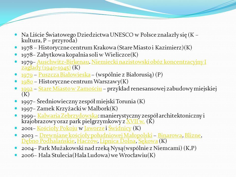Na Liście Światowego Dziedzictwa UNESCO w Polsce znalazły się (K – kultura, P – przyroda) 1978 – Historyczne centrum Krakowa (Stare Miasto i Kazimierz