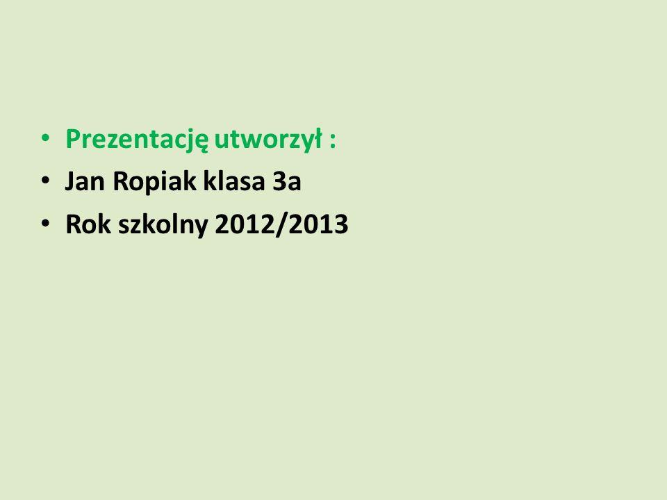Prezentację utworzył : Jan Ropiak klasa 3a Rok szkolny 2012/2013
