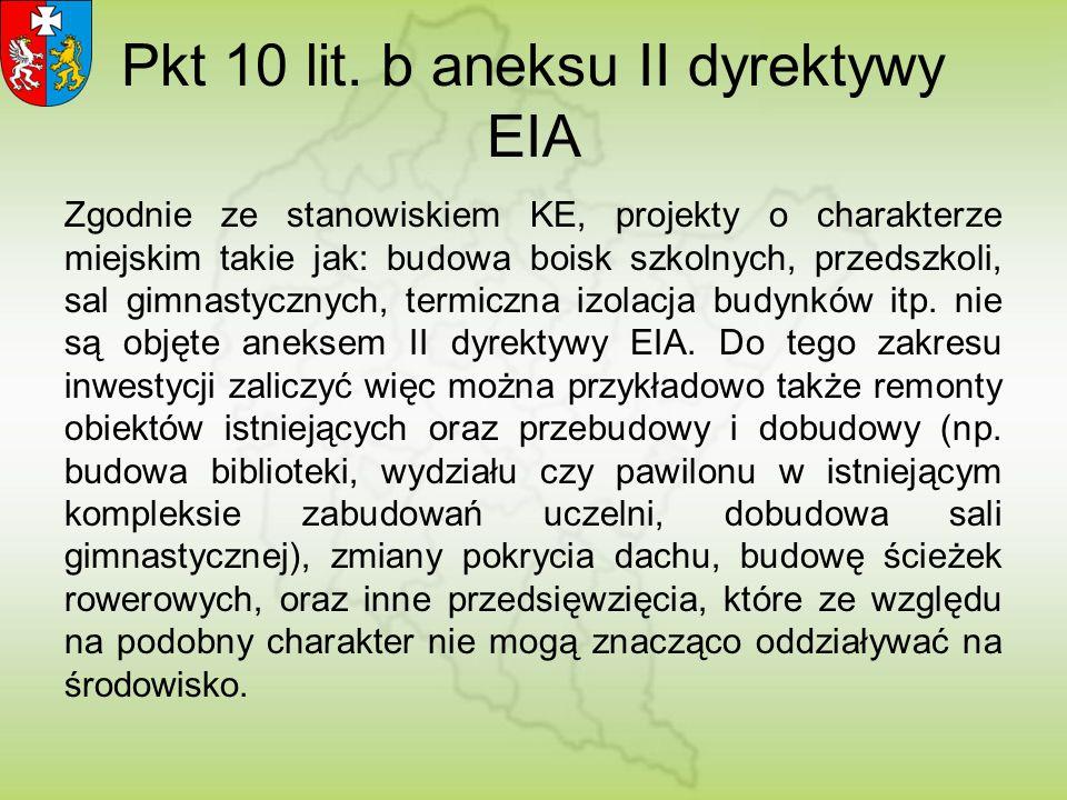 Pkt 10 lit. b aneksu II dyrektywy EIA Zgodnie ze stanowiskiem KE, projekty o charakterze miejskim takie jak: budowa boisk szkolnych, przedszkoli, sal