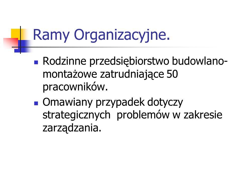 Ramy Organizacyjne. Rodzinne przedsiębiorstwo budowlano- montażowe zatrudniające 50 pracowników. Omawiany przypadek dotyczy strategicznych problemów w