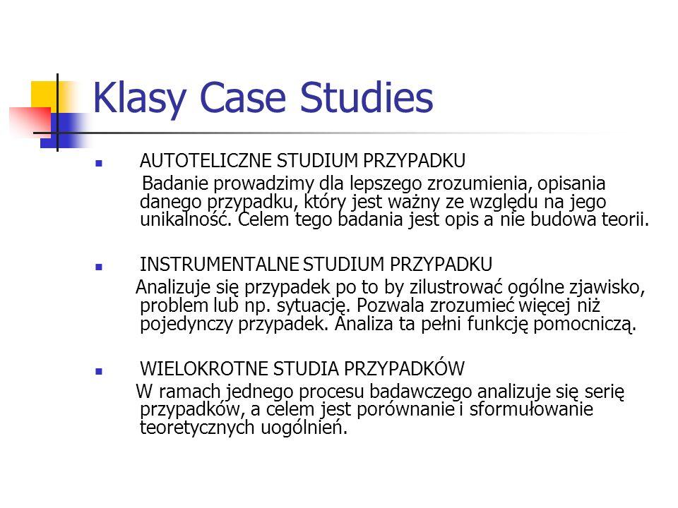 Klasy Case Studies AUTOTELICZNE STUDIUM PRZYPADKU Badanie prowadzimy dla lepszego zrozumienia, opisania danego przypadku, który jest ważny ze względu