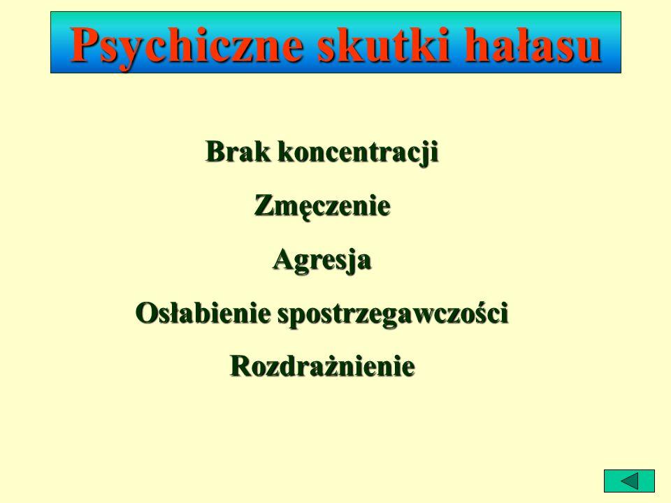 Fizyczne skutki hałasu NiedosłuchGłuchota Bóle głowy Zaburzenia rytmu serca Wzrost ciśnienia tętniczego krwi Bezsenność Spadek apetytu Choroba wrzodow