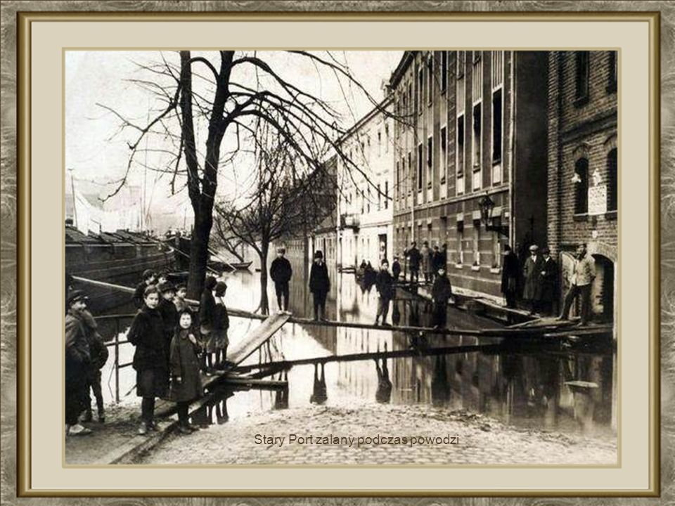 Budynek Poczty Polskiej w roku 1880 podtopiony podczas powodzi