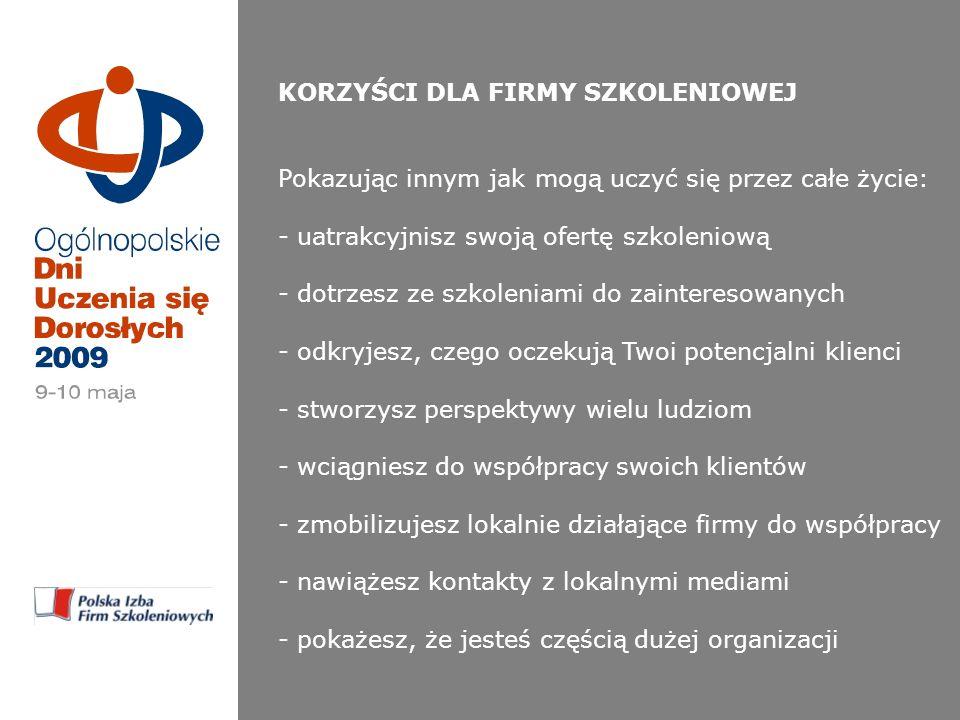 KORZYŚCI DLA FIRMY WSPIERAJĄCEJ Wykorzystaj Dni Uczenia się Dorosłych i dokonaj zmian w swojej firmie: - zaistniej jednocześnie w 120 miejscach w Polsce* - bądź obecny w kluczowych wydarzeniach - zaistniej w neutralnym przekazie o ogólnopolskim zasięgu, związanym z doskonaleniem się ludzi - pokaż swoje logo na drukach i w mediach - bądź sponsorem lub partnerem (wyjątkowo niski koszt dotarcia do jednego odbiorcy) * PRZEWIDYWANY ZASIĘG
