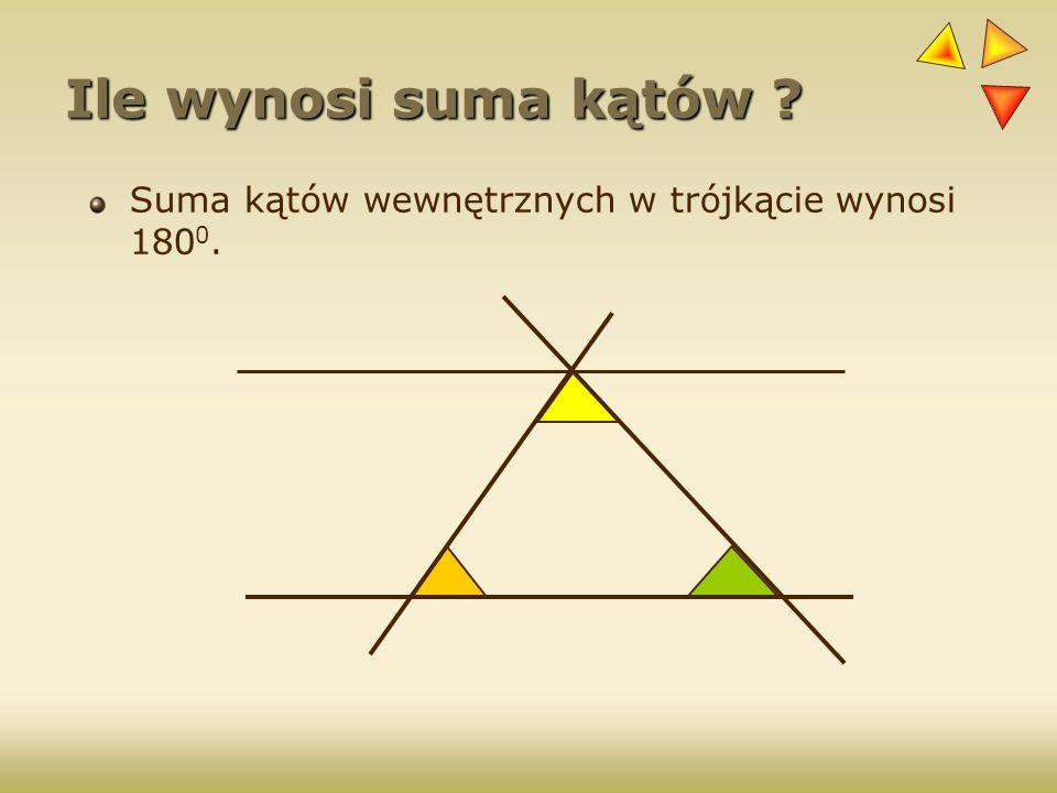 Ile wynosi suma kątów ? Suma kątów wewnętrznych w trójkącie wynosi 180 0.