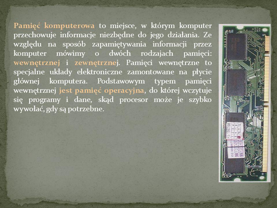 Pamięć komputerowa to miejsce, w którym komputer przechowuje informacje niezbędne do jego działania. Ze względu na sposób zapamiętywania informacji pr